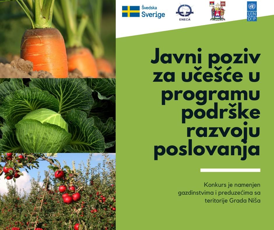 Javni poziv za učešće u programu podrške razvoju poslovanja prehrambenog sektora u Nišu